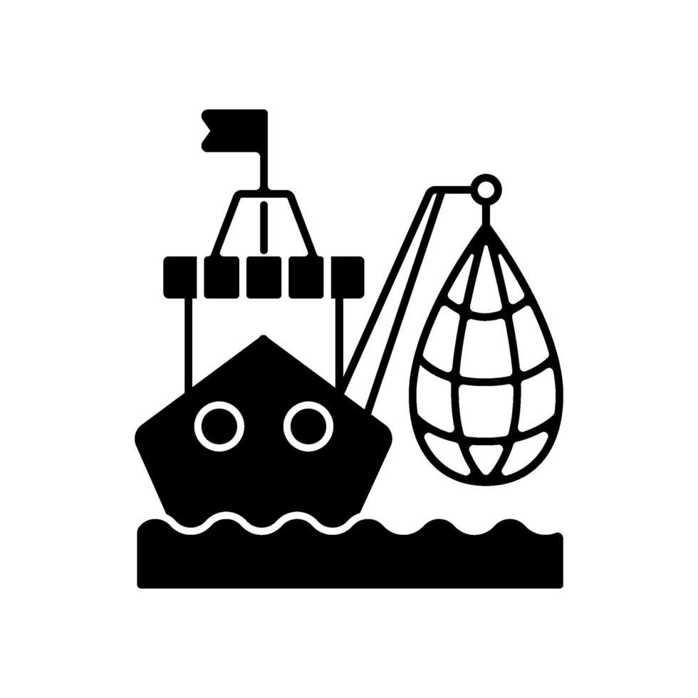 industriellt fiske svart linjär ikon vektor