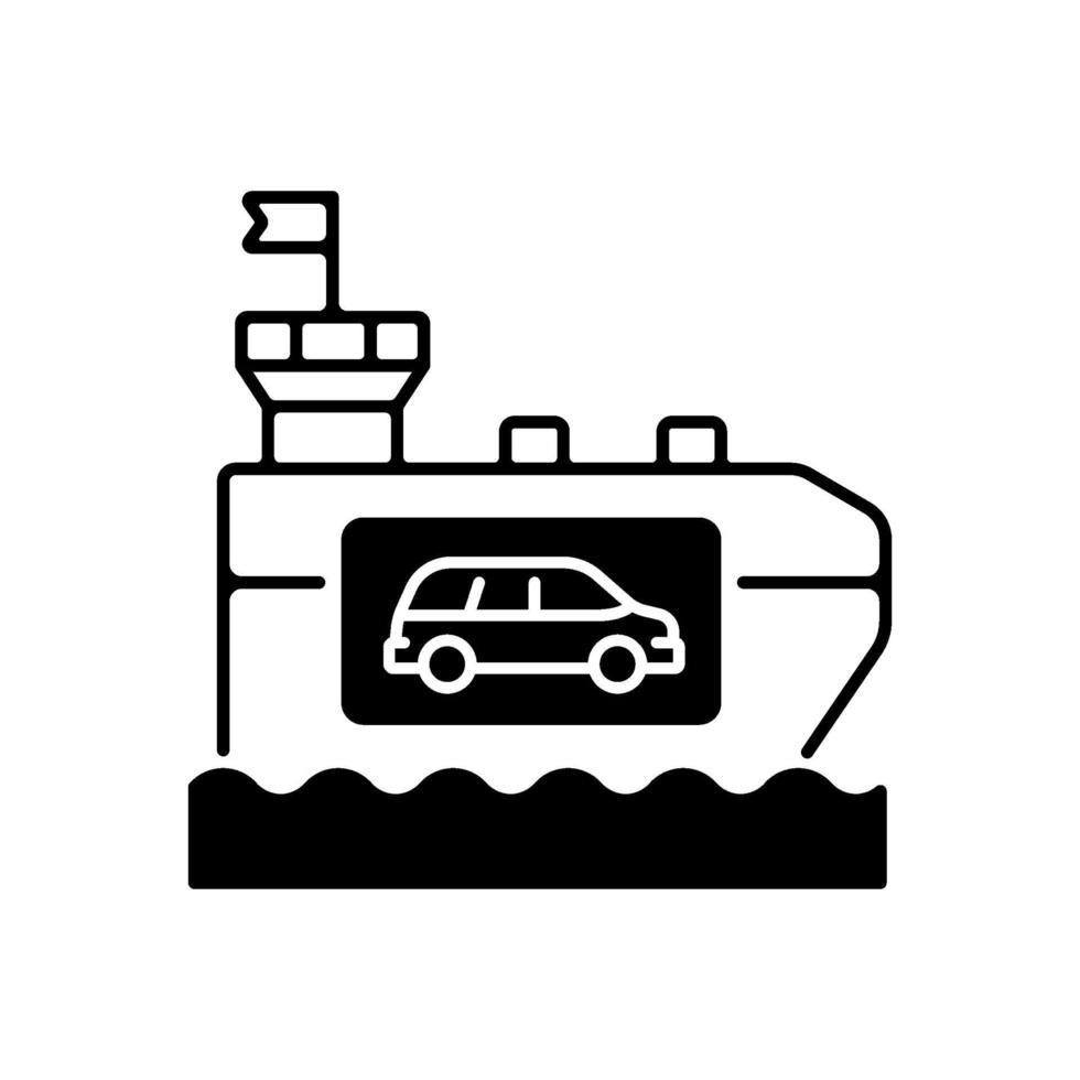 Fahrzeugträgerschiff schwarz lineares Symbol vektor