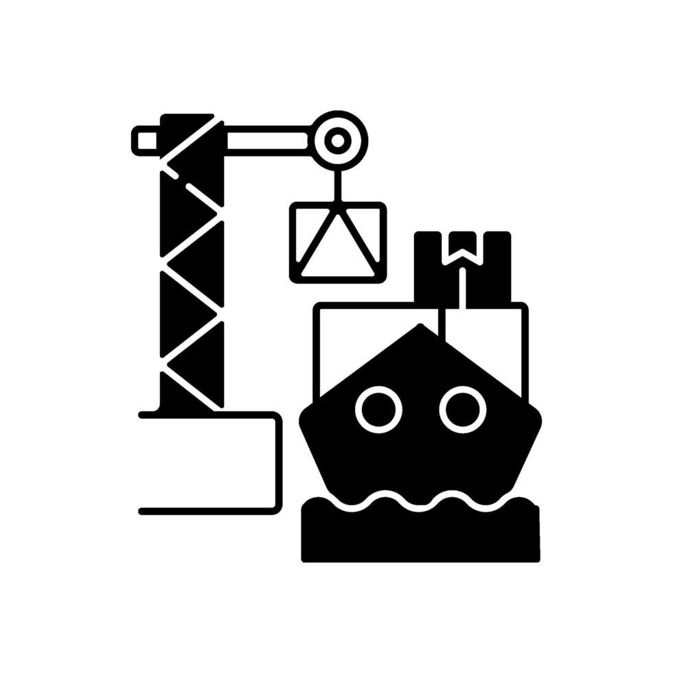 last lastning svart linjär ikon vektor