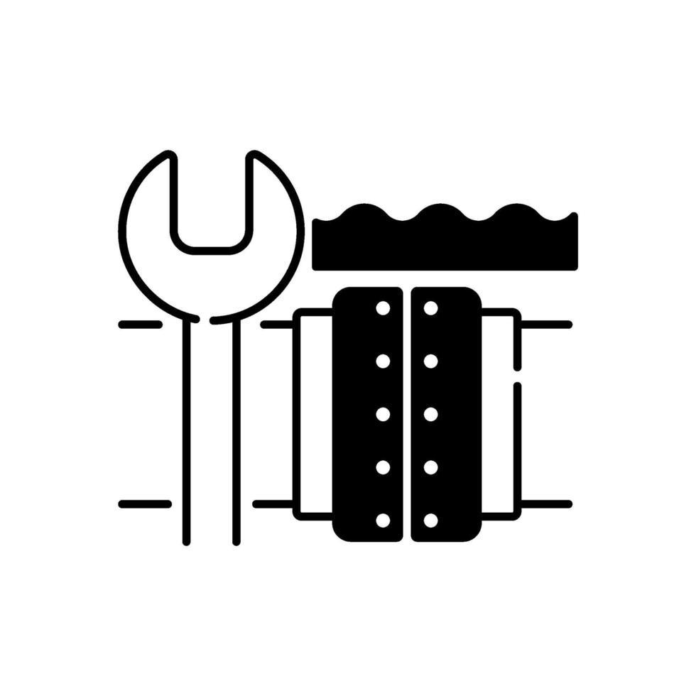 schwarzes lineares Symbol für die Reparatur von Unterwasserpipelines vektor