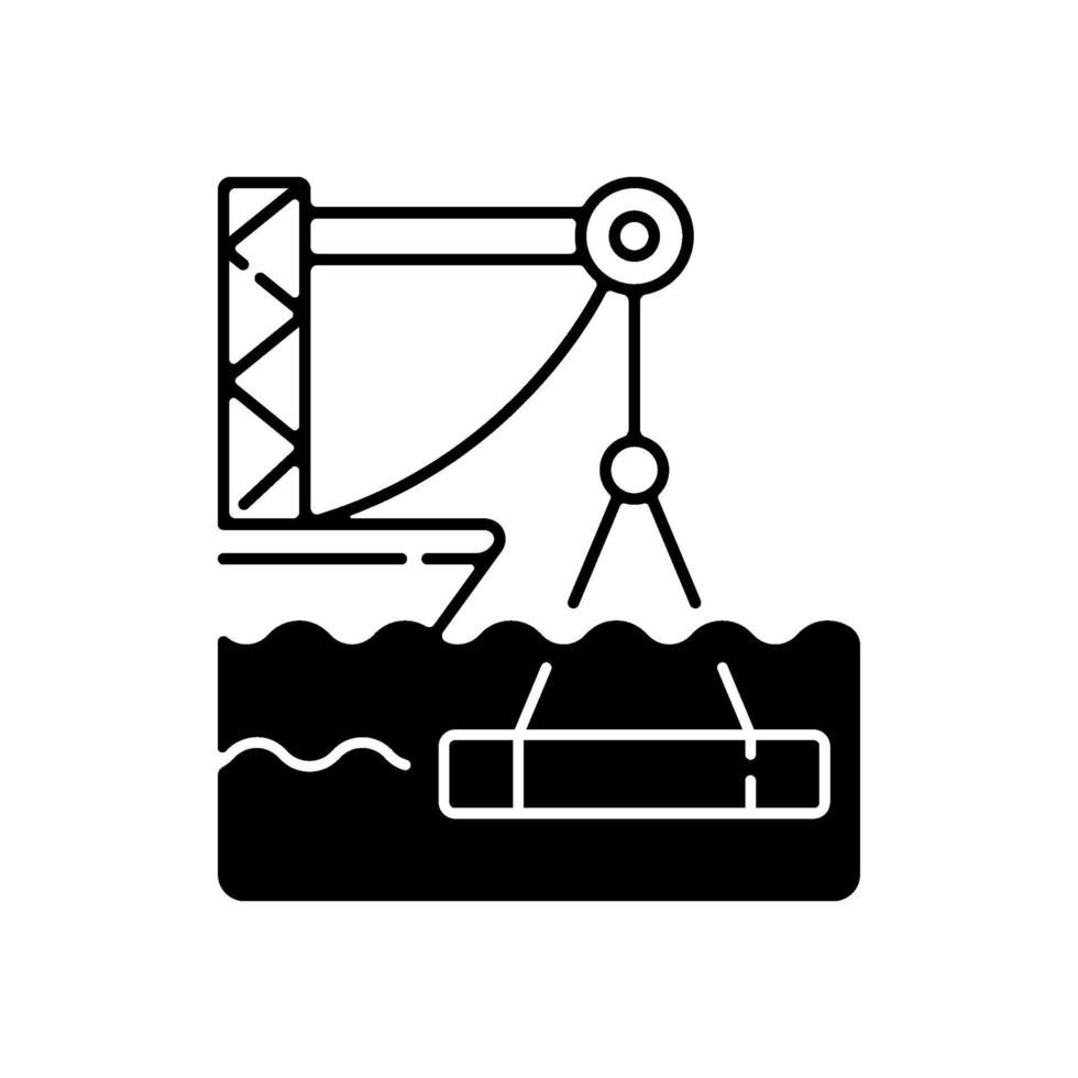 undervattens konstruktion svart linjär ikon vektor