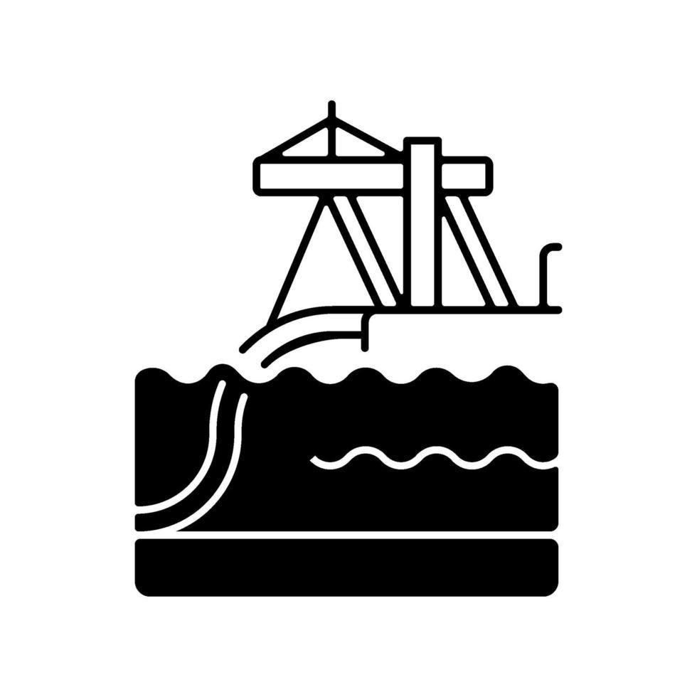 installation under vattnet rörledning svart linjär ikon vektor