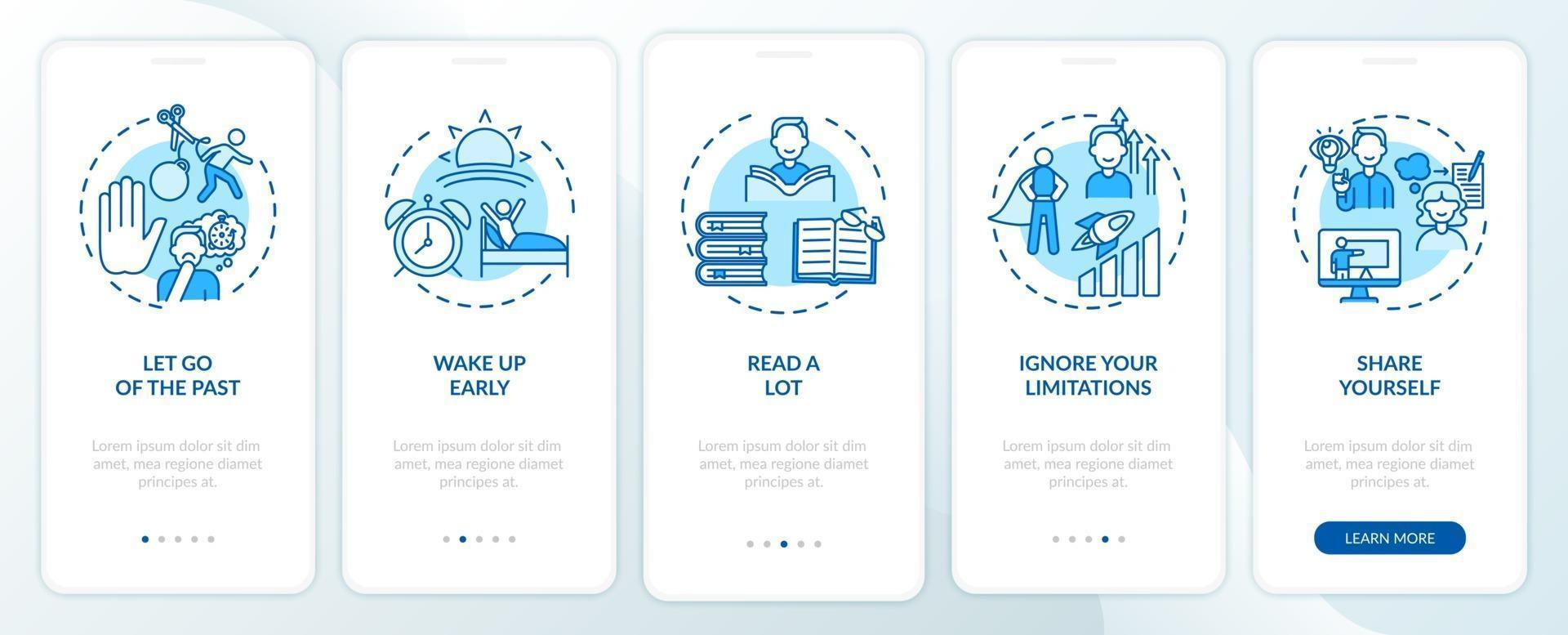 självutvecklingstips blå ombord mobilappsskärm med koncept vektor