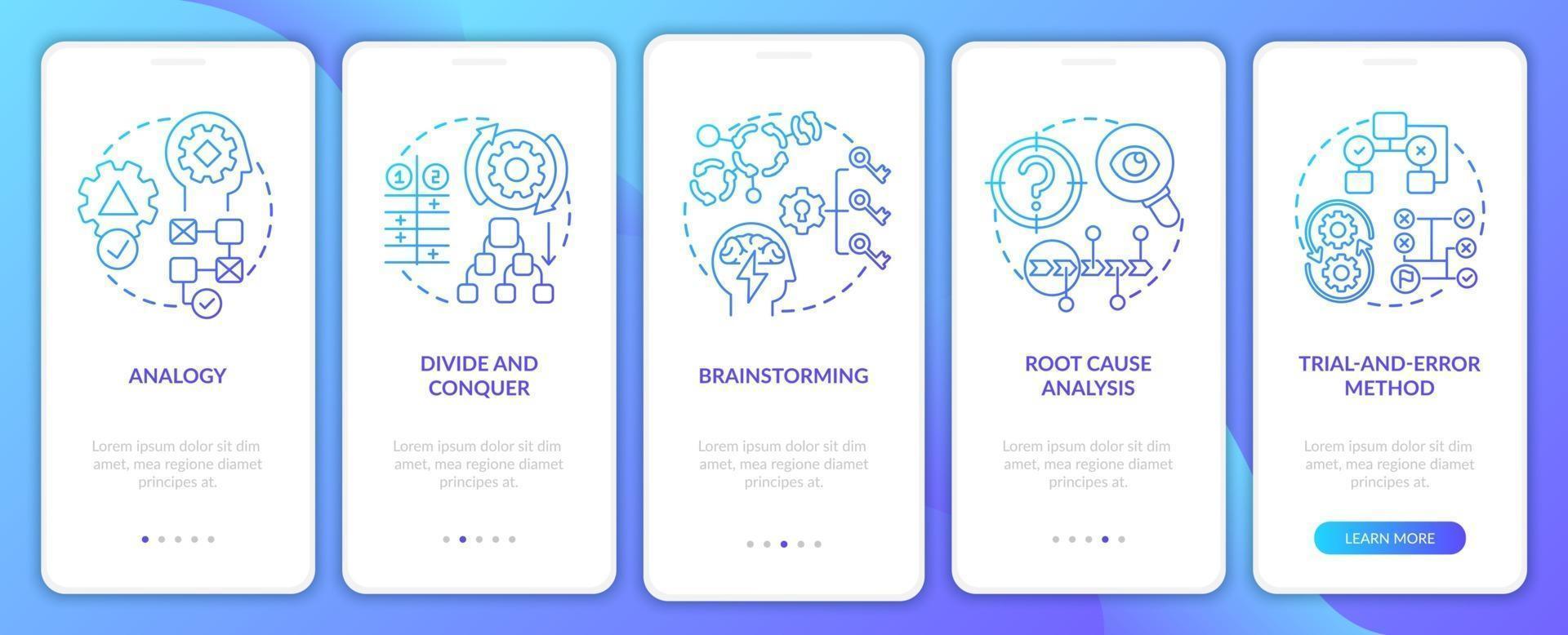 problemlösning strategier marin ombord mobil app sida skärm med koncept vektor
