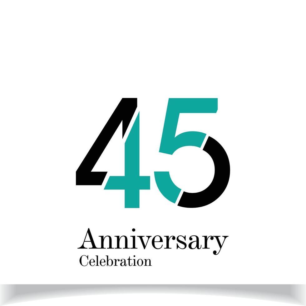 45 års illustration för design för mall för färg för blå årsdagfirande vektor