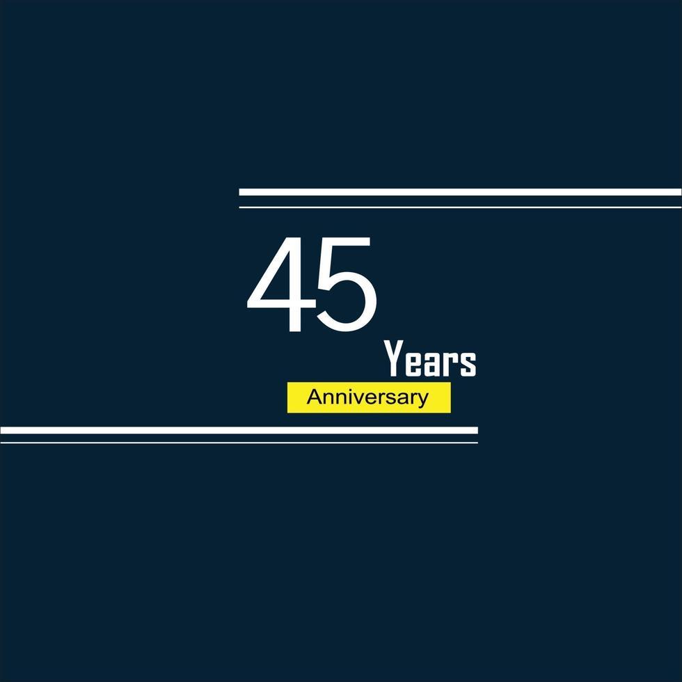 45 Jahre Jubiläumsfeier blaue Farbvektorschablonen-Designillustration vektor