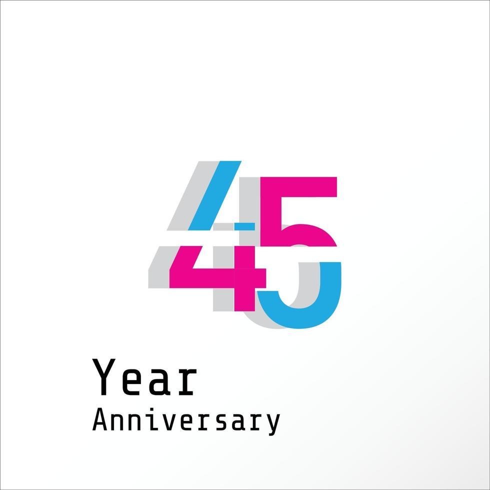 45 Jahre Jubiläumsfeier Farbvektor Vorlage Design Illustration vektor