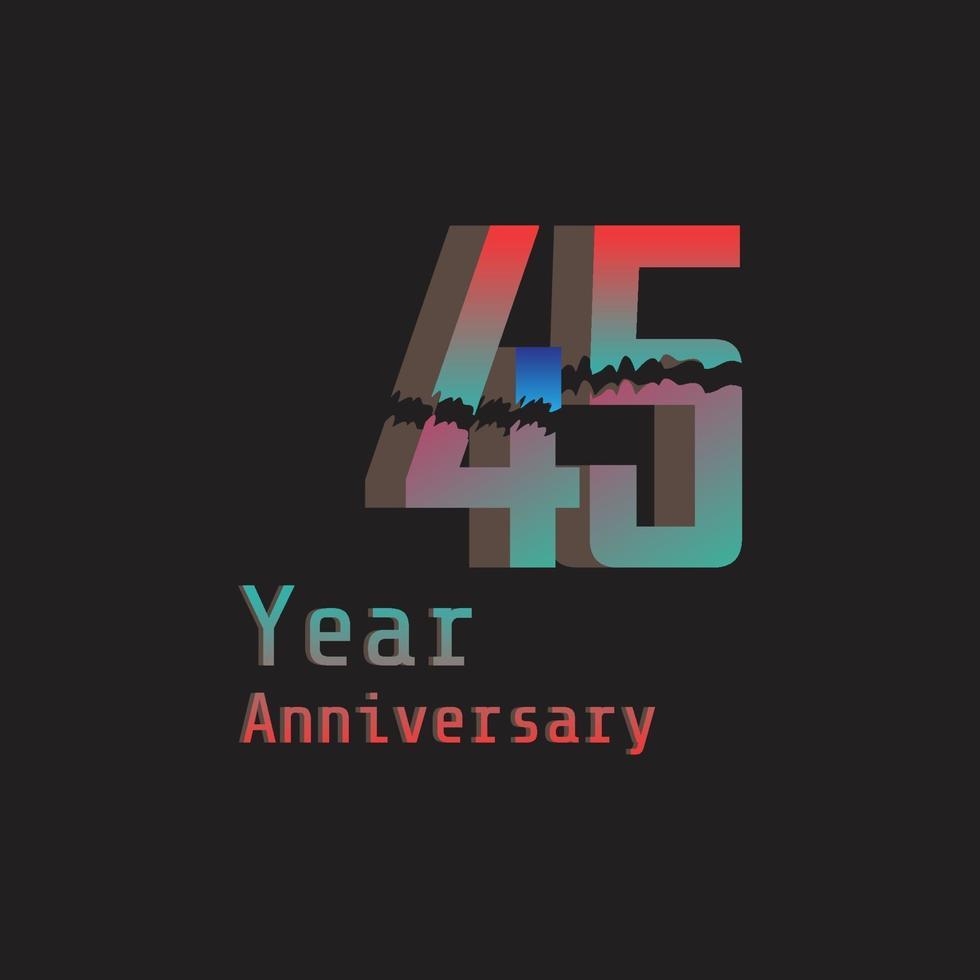 45 Jahre Jubiläumsfeier Regenbogen Farbvektor Vorlage Design Illustration vektor