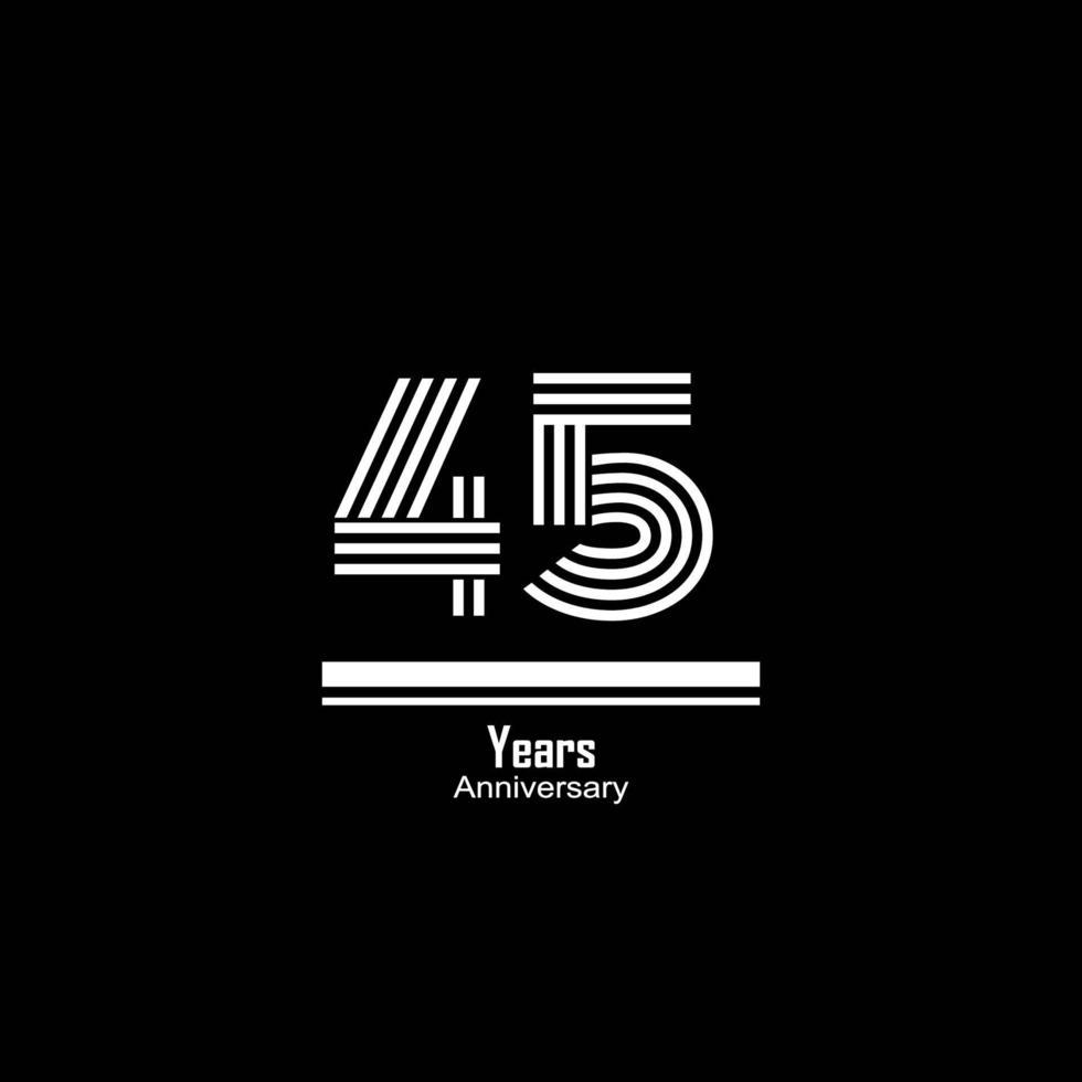 45 Jahre Jubiläumsfeier Vektor Vorlage Design Illustration