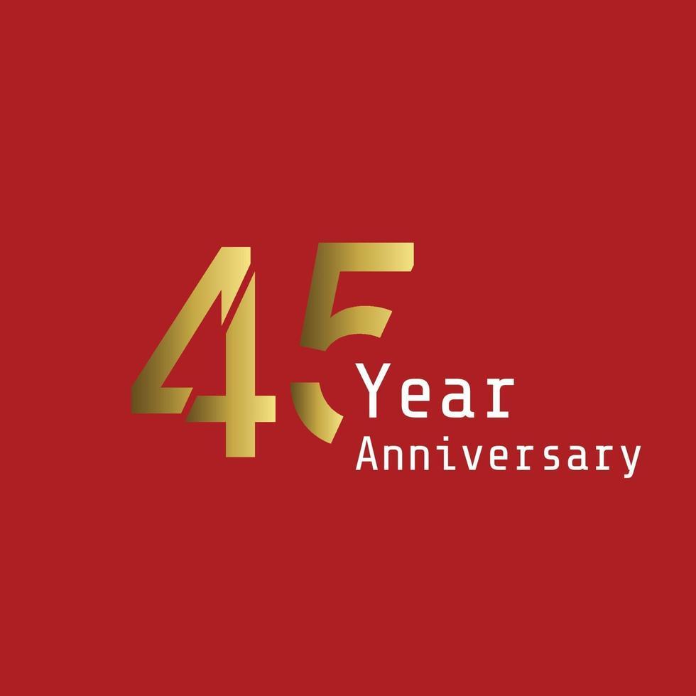 45 år årsdag firande guld röd bakgrundsfärg vektor mall design design