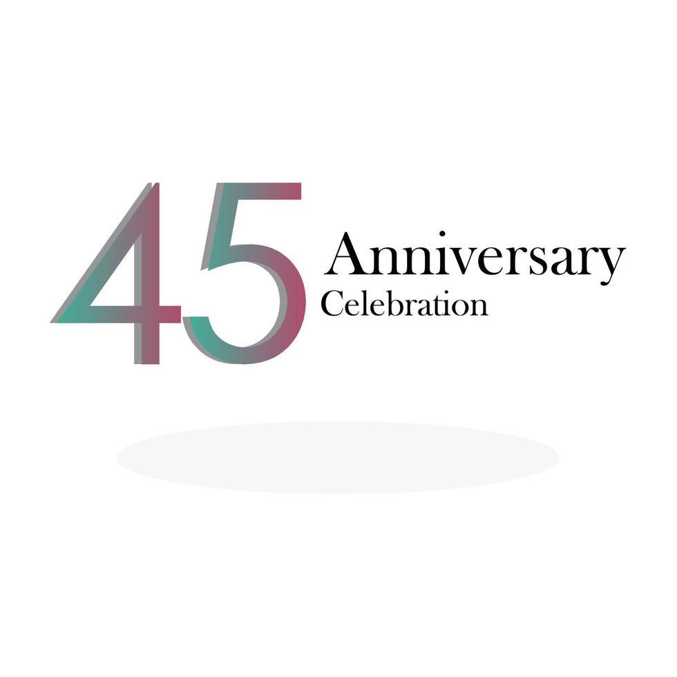 45 års illustration för design för mall för vektor för årsdagfirande regnbågefärg