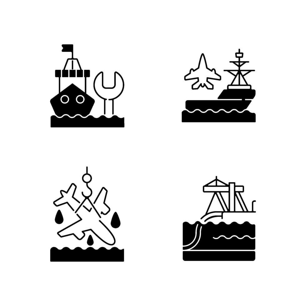 maritima sektorn svart linjär ikoner set vektor