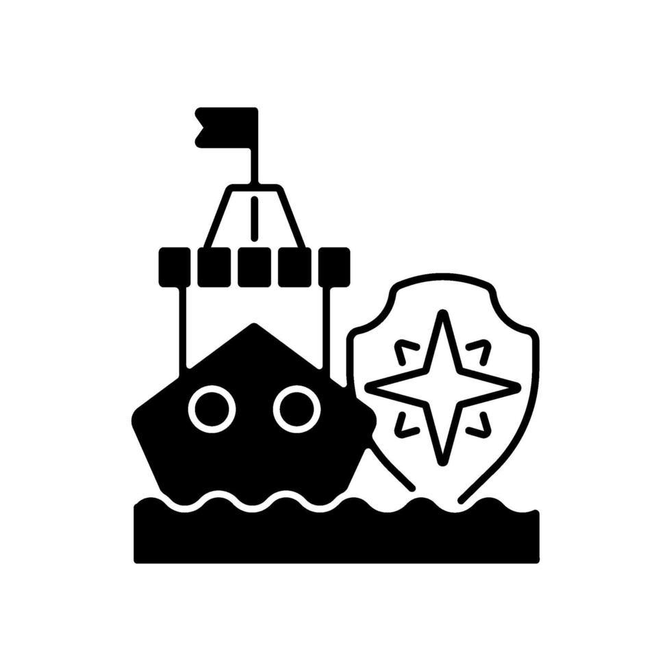 maritim säkerhet svart linjär ikon vektor