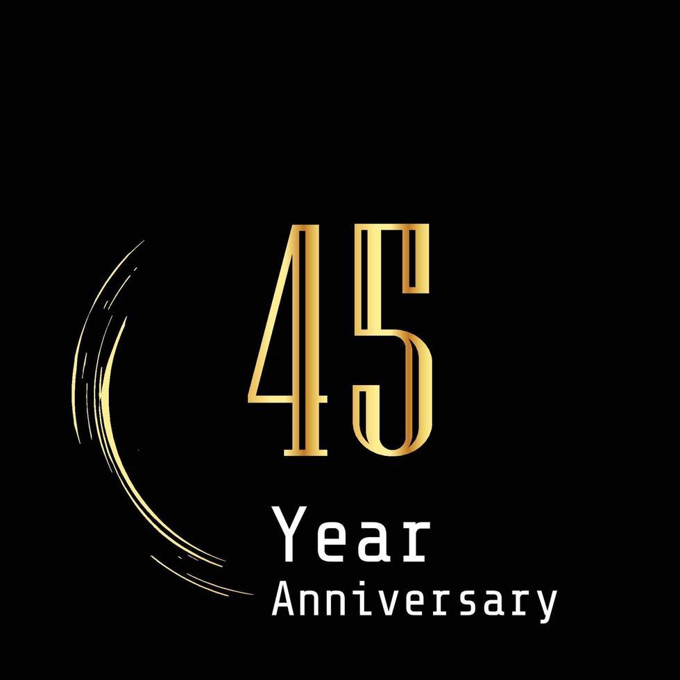 45 Jahre Jubiläumsfeier Gold schwarz Hintergrund Farbvektor Vorlage Design Illustration vektor