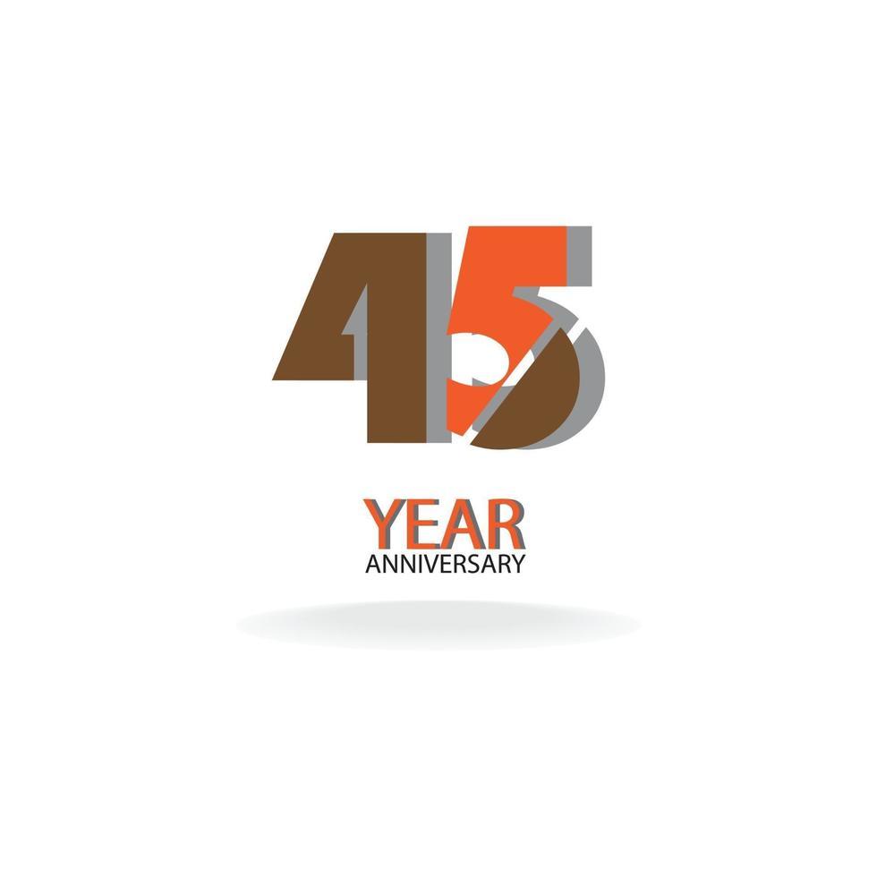 45 års illustration för design för mall för årsdagfärgfärgmall vektor