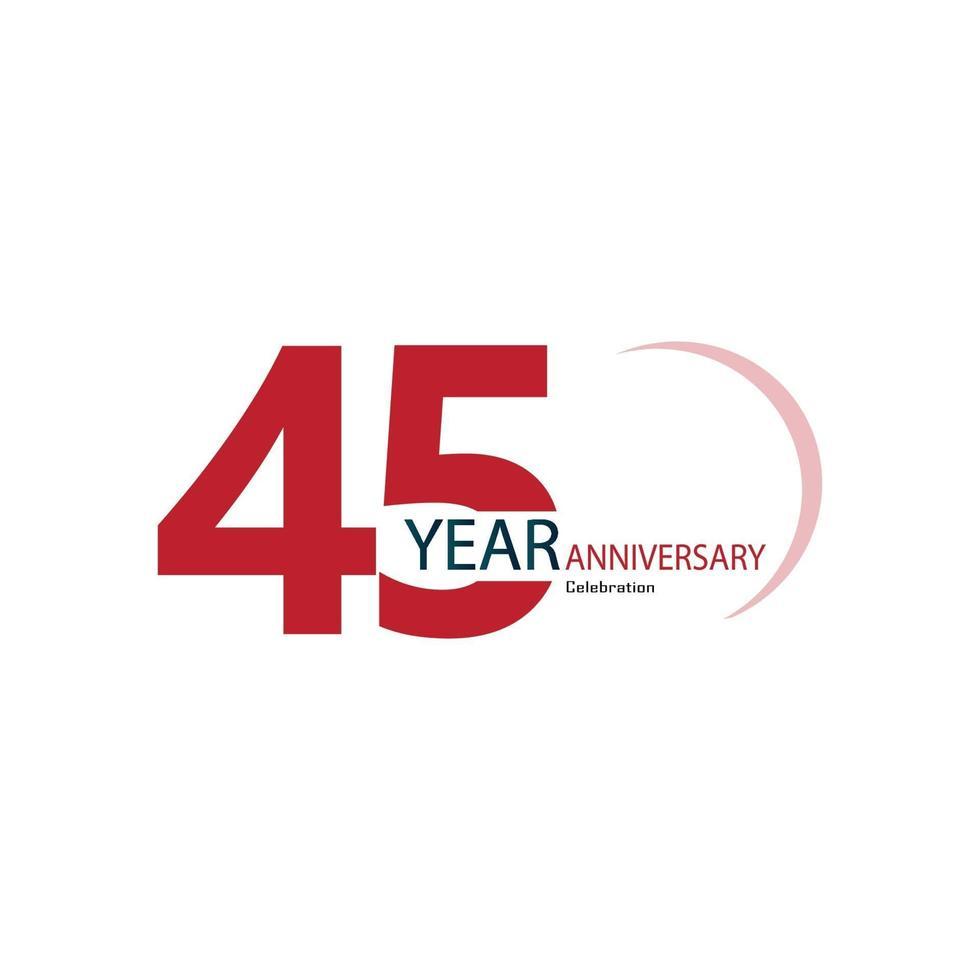 45 Jahre Jubiläumsfeier rote Farbvektorschablonen-Designillustration vektor