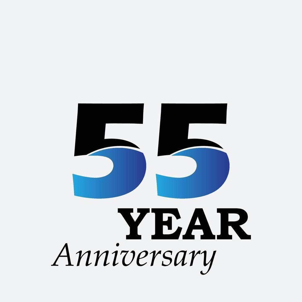 55 års illustration för design för mall för färg för blå årsdagfirande vektor