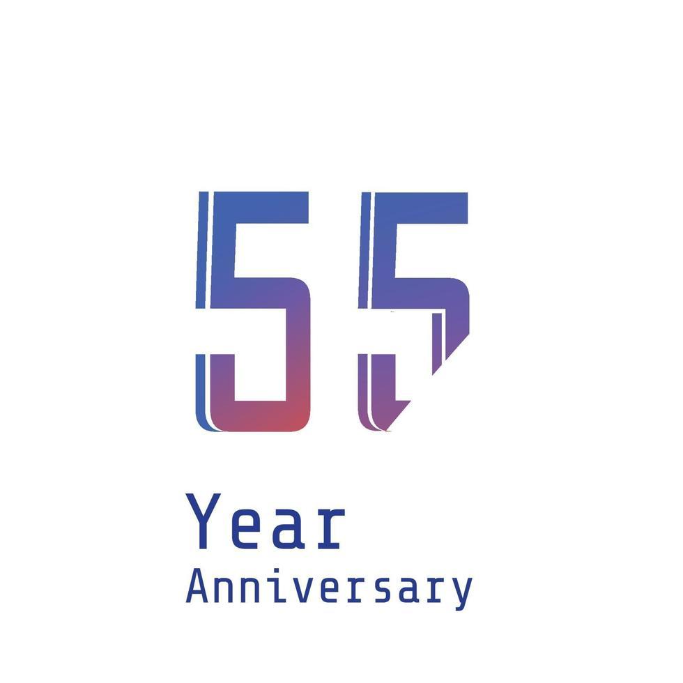 55 Jahre Jubiläumsfeier blaue Farbvektorschablonen-Designillustration vektor