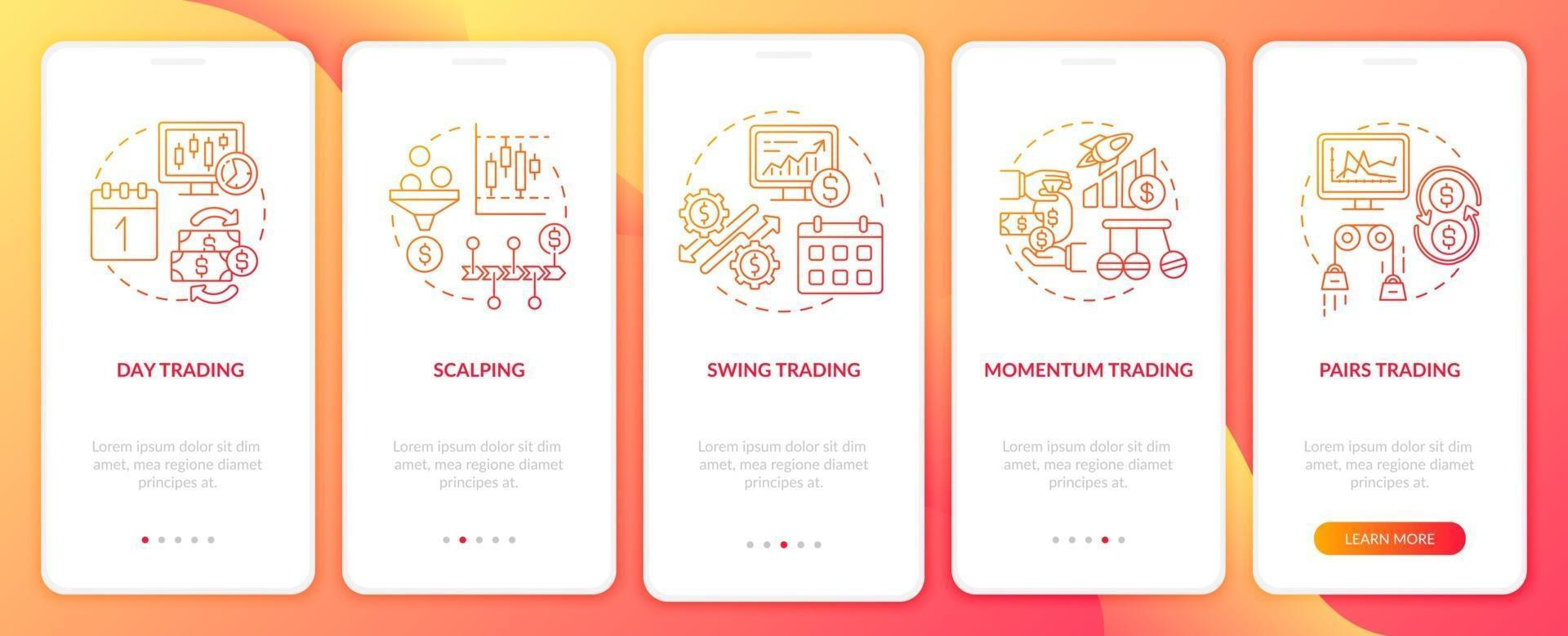 aktiehandelstrategier ombord mobilappsskärm med koncept vektor