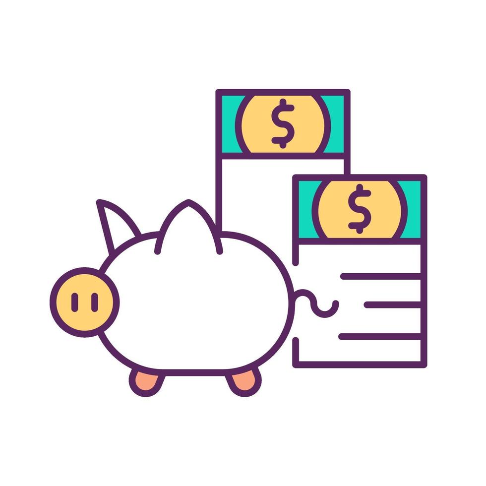 investera besparingar rgb färgikonen vektor