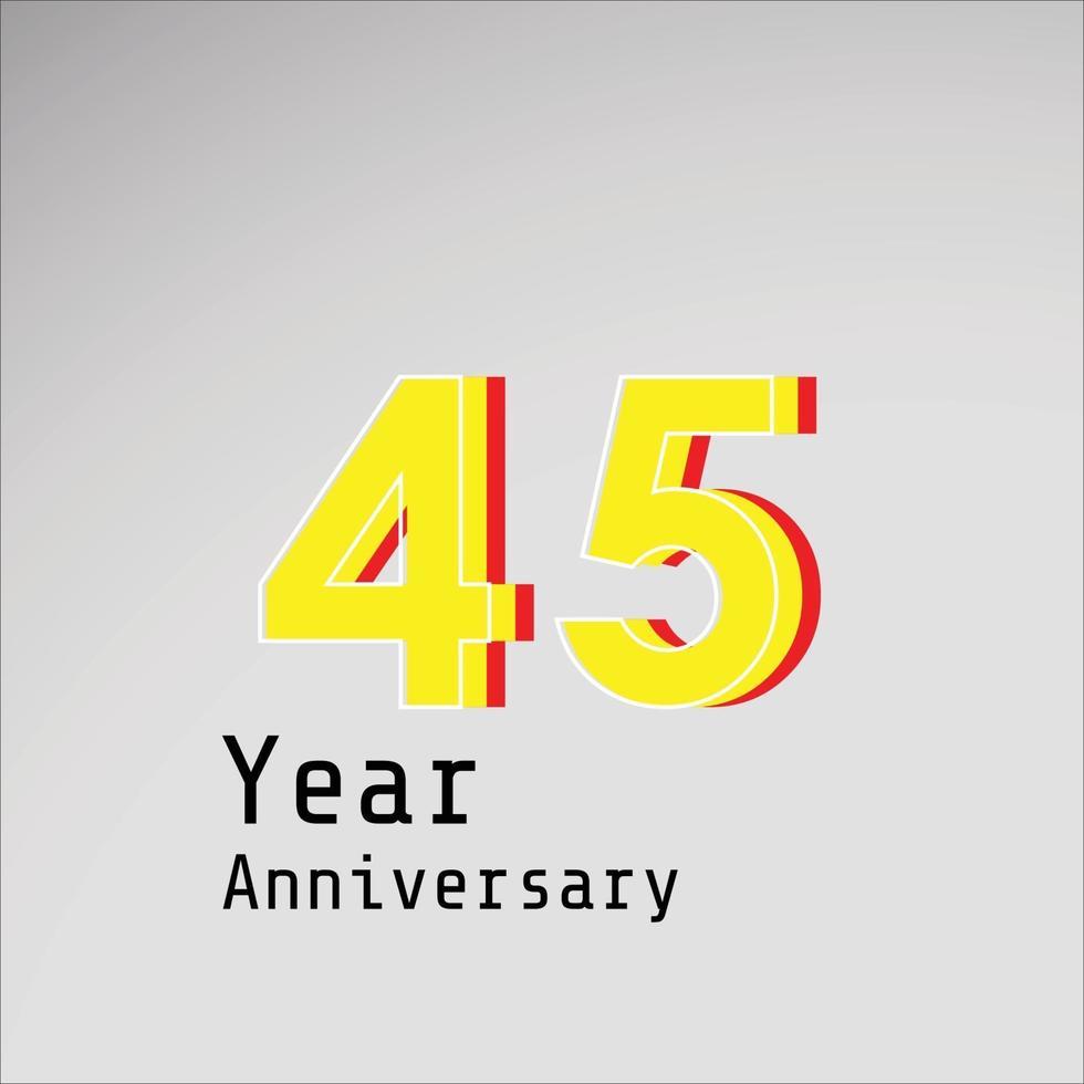 45 års illustration för design för mall för vektor för årsdagfirande gul färg