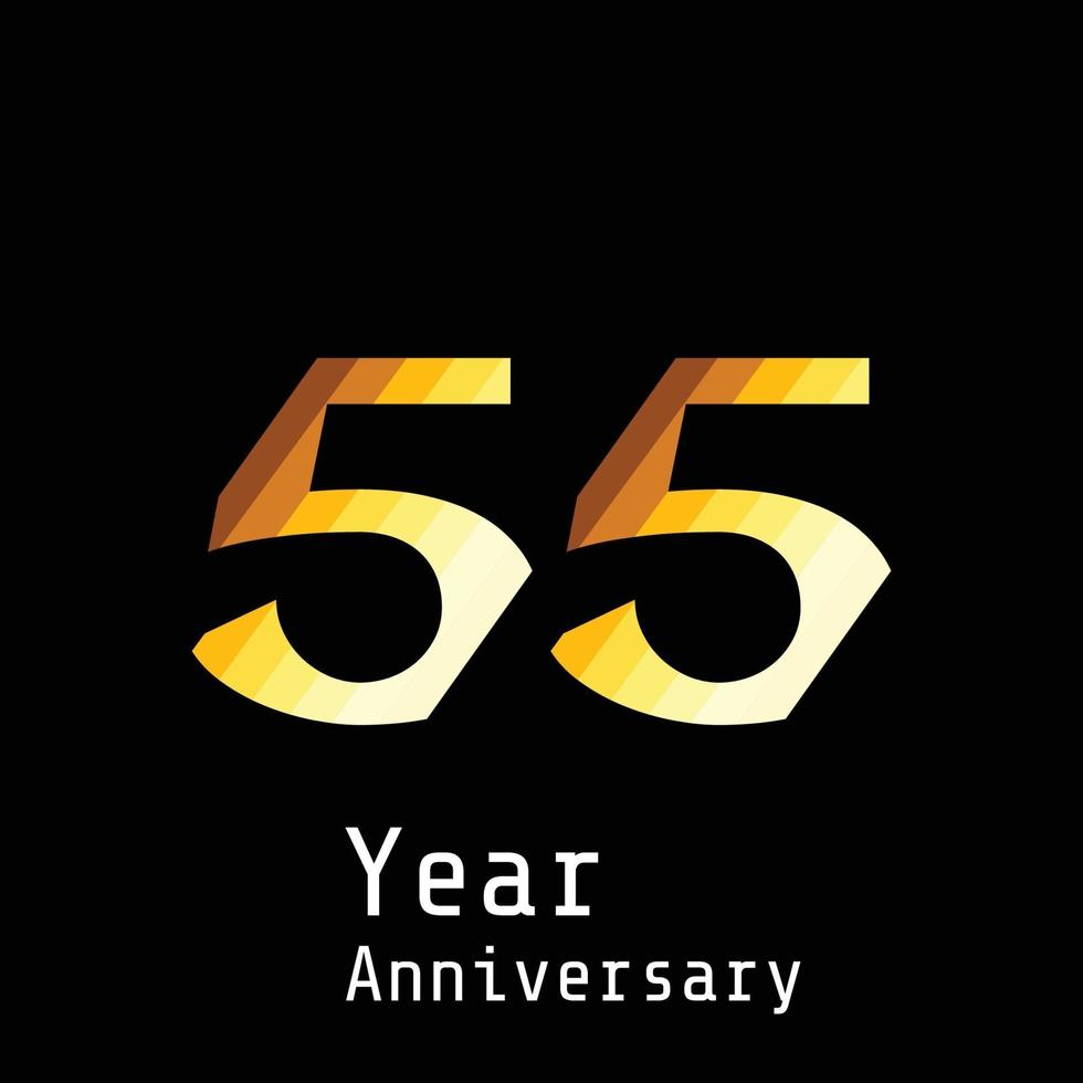 55 Jahre Jubiläumsfeier Gold schwarz Farbe Hintergrund Vektor Vorlage Design Illustration