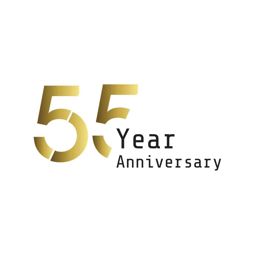 55 år årsdag firande guld vit färg bakgrund vektor mall design design