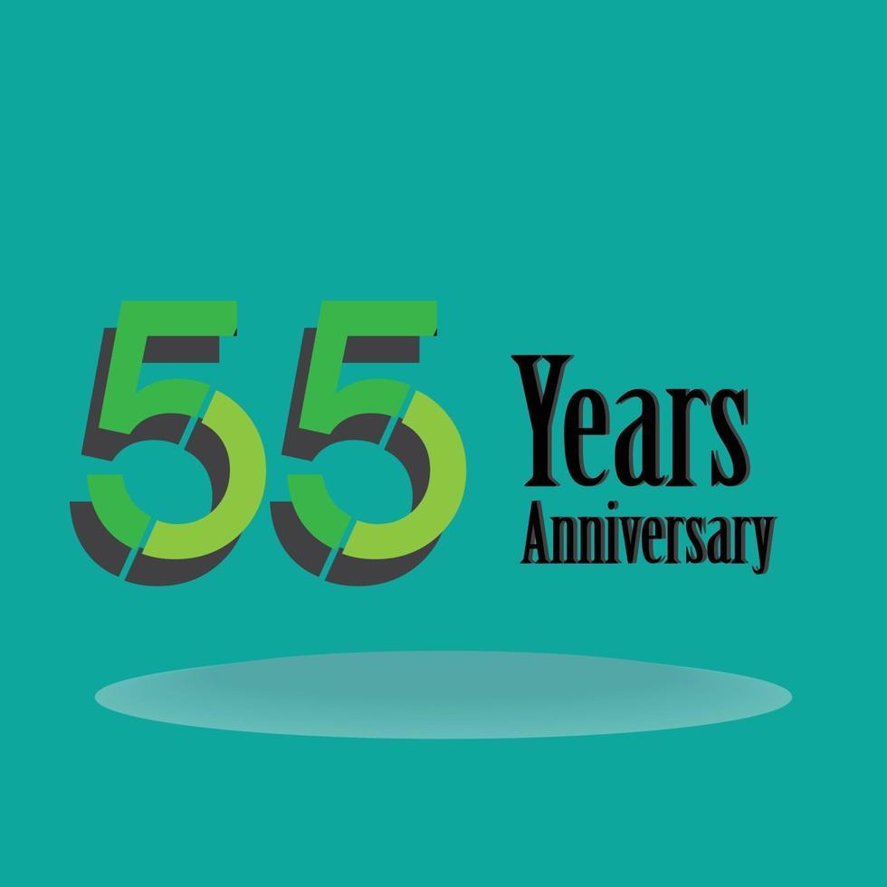 55 år för illustration för design för mall för grön färg för årsdagfirande vektor