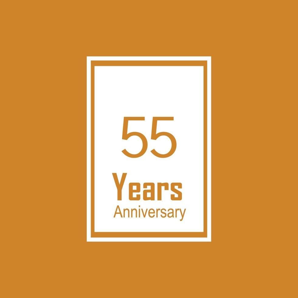 55 års illustration för design för mall för årsdagfirande gul färgvektor vektor