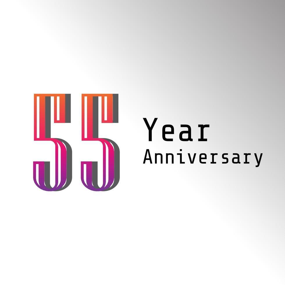 55 år årsdag firande regnbågsfärg vektor mall design design