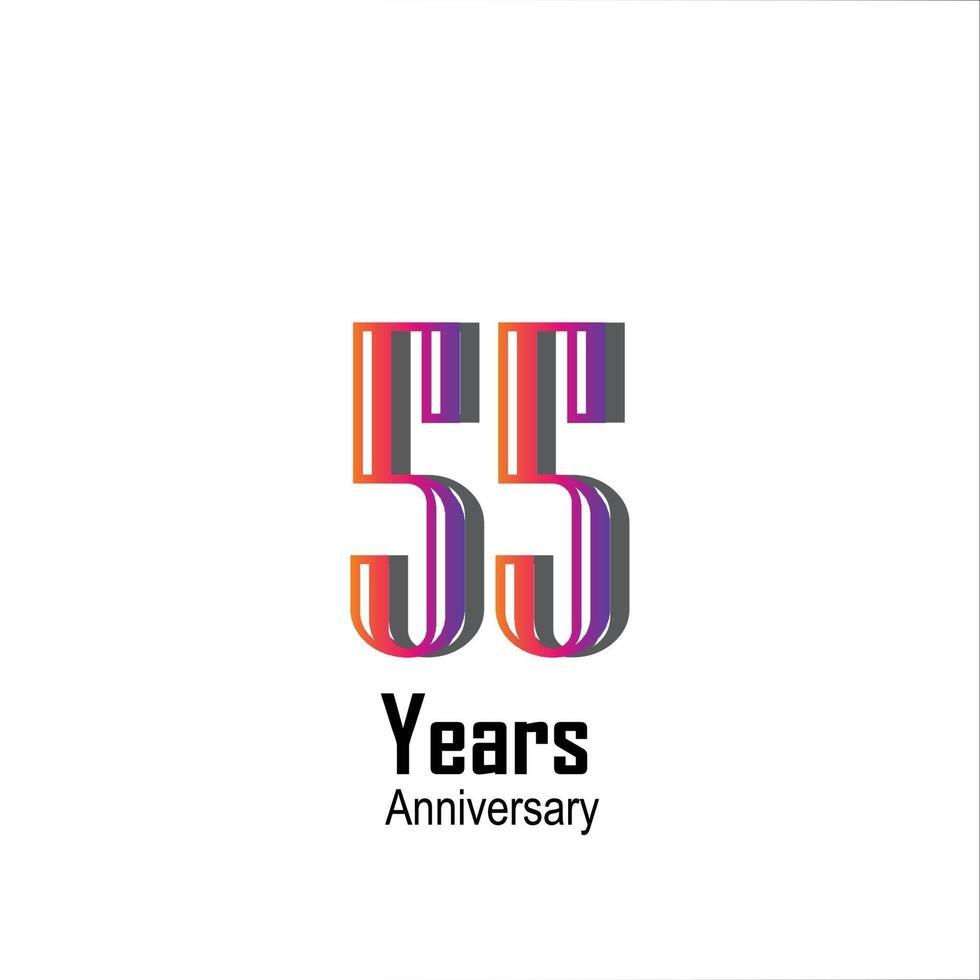 55 Jahre Jubiläumsfeier Regenbogen Farbvektor Vorlage Design Illustration vektor