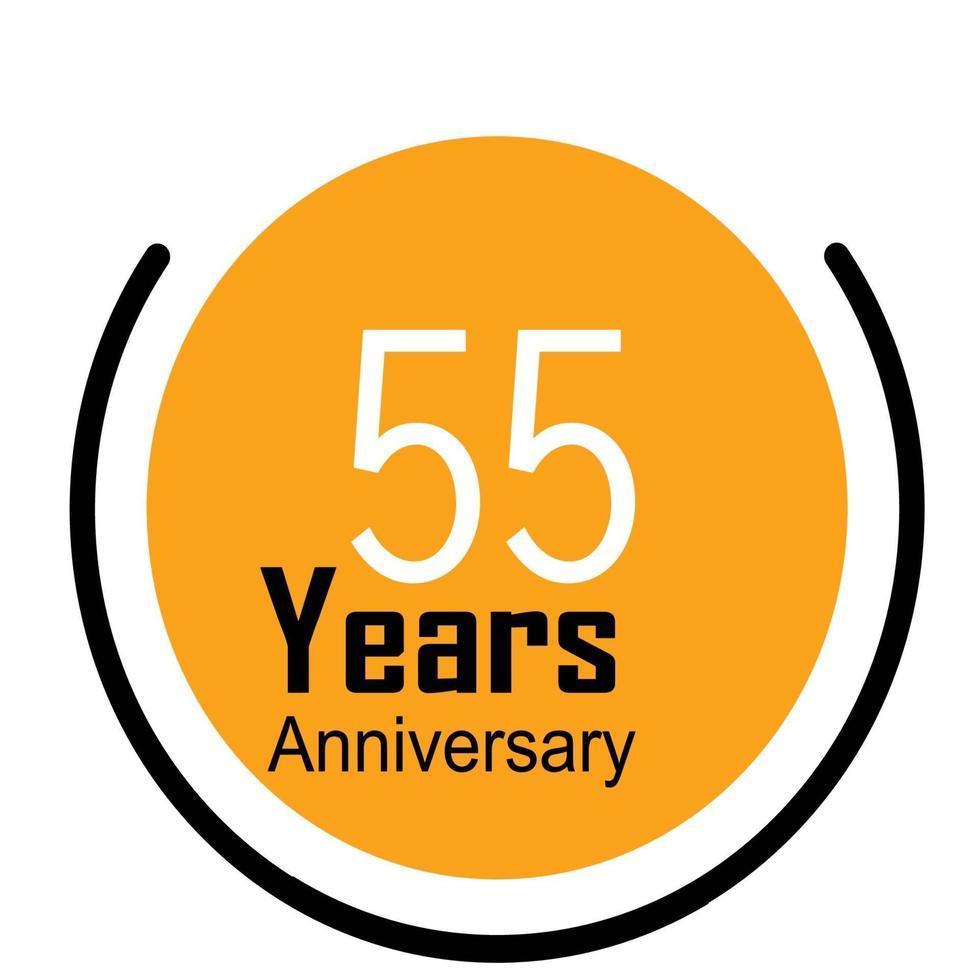 55 Jahre Jubiläumsfeier gelbe Farbvektorschablonenentwurfsillustration vektor