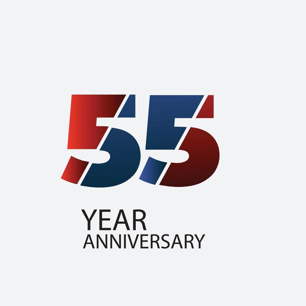 55 Jahre Jubiläumsfeier rote Farbvektorschablonenentwurfsillustration vektor