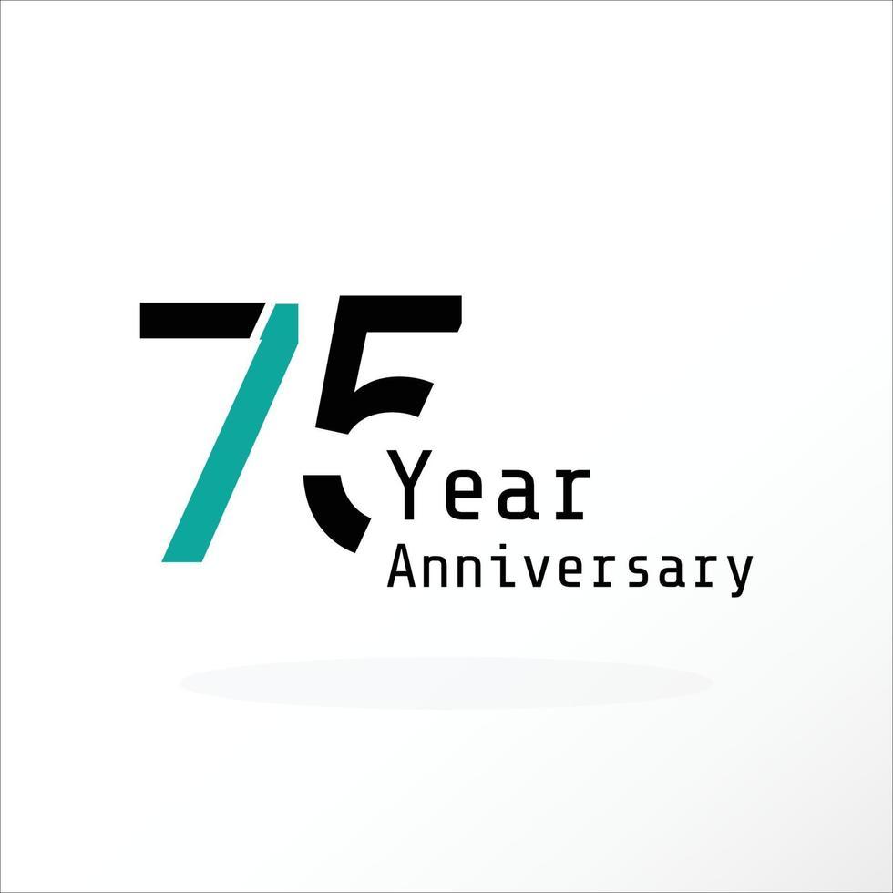 75 Jahre Jubiläumsfeier blaue Farbvektorschablonen-Designillustration vektor