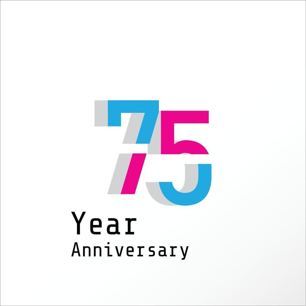 75 Jahre Jubiläumsfeier Farbvektor Vorlage Design Illustration vektor