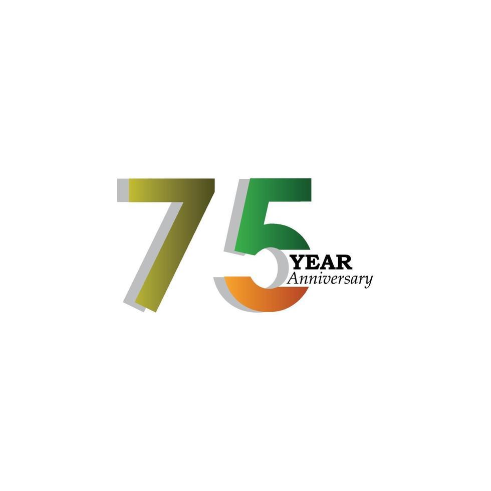 75 års årsdag firande guld vit bakgrund färg färg vektor mall design illustration
