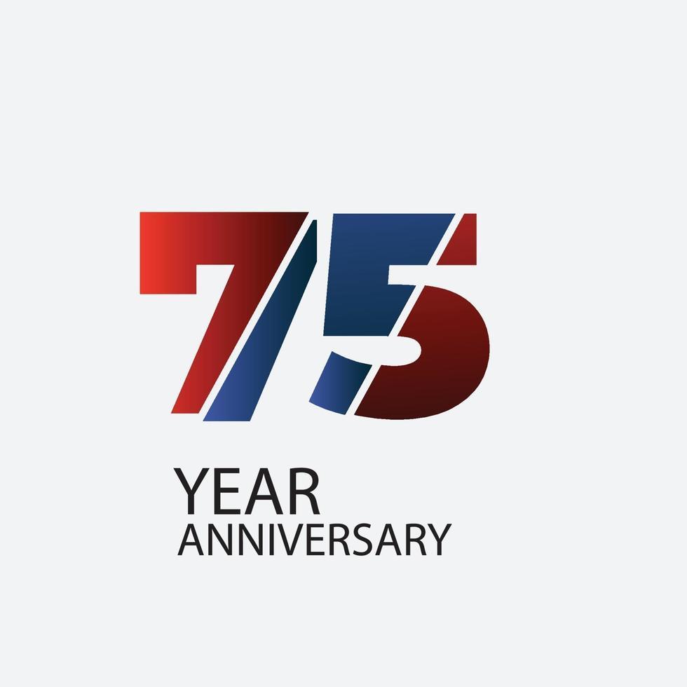 75 Jahre Jubiläumsfeier rote Farbvektorschablonenentwurfsillustration vektor