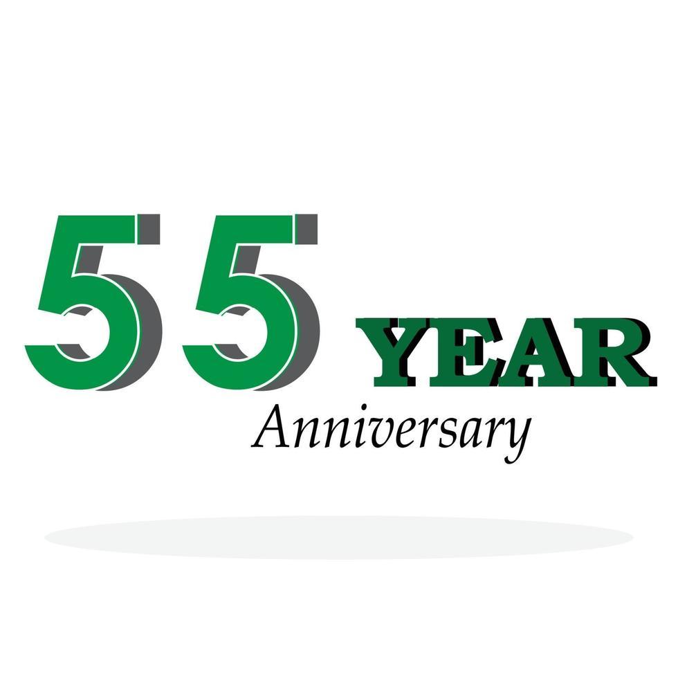 55 Jahre Jubiläumsfeier grüne Farbvektorschablonenentwurfsillustration vektor