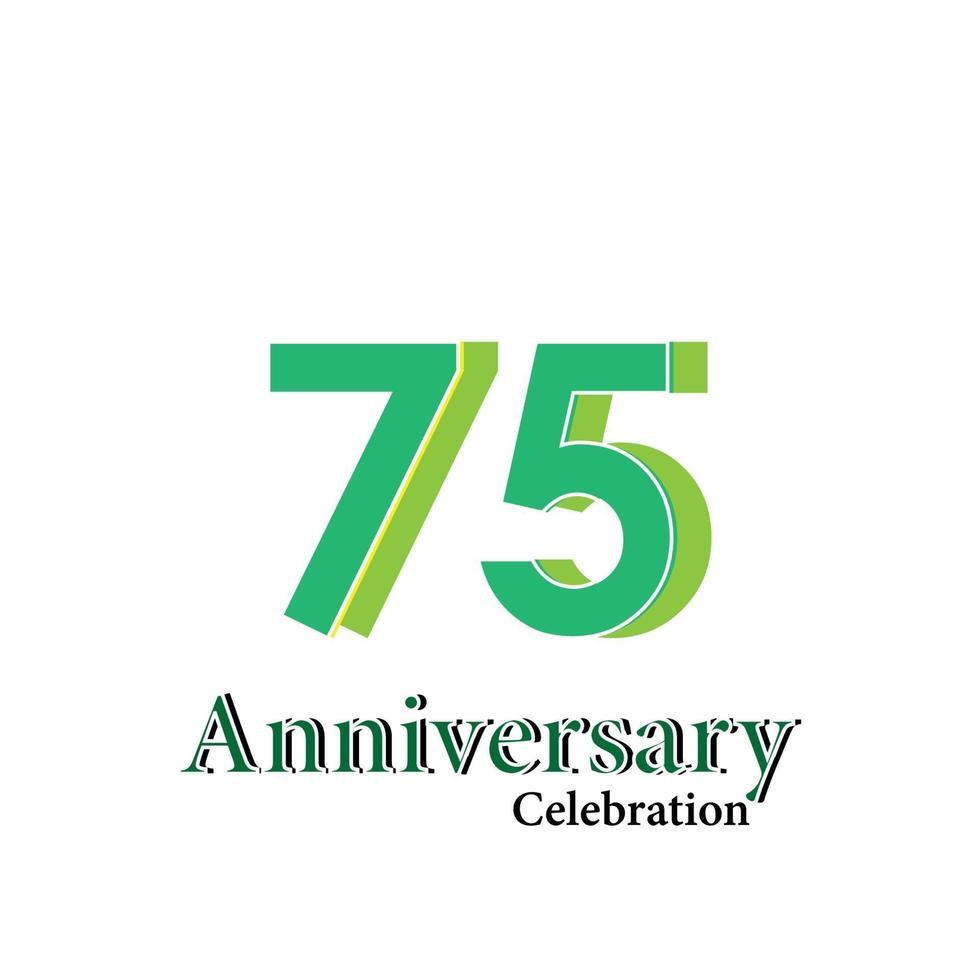 75 års illustration för design för mall för vektor för grön färg för årsdagfirande