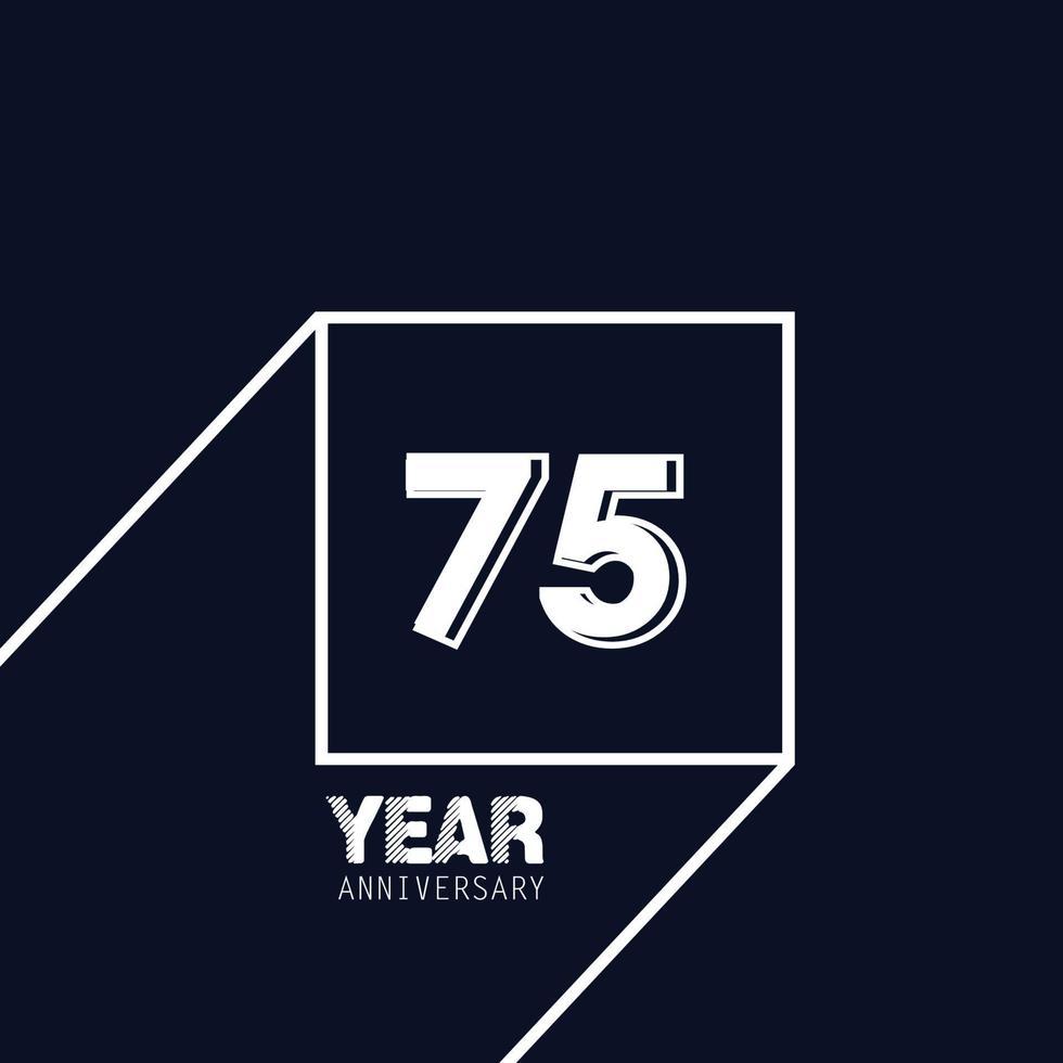 75 år för illustration för design för mall för färg för blå färg för årsdagfirande vektor