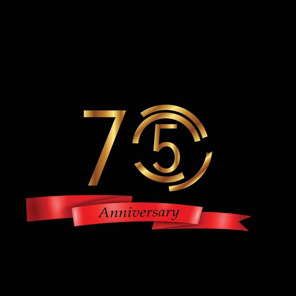 75 Jahre Jubiläumsfeier Gold schwarz Hintergrund Farbvektor Vorlage Design Illustration vektor