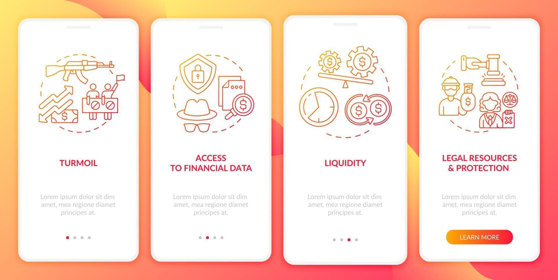 Globale Aktienherausforderungen Onboarding des Bildschirms für mobile App-Seiten mit Konzepten vektor