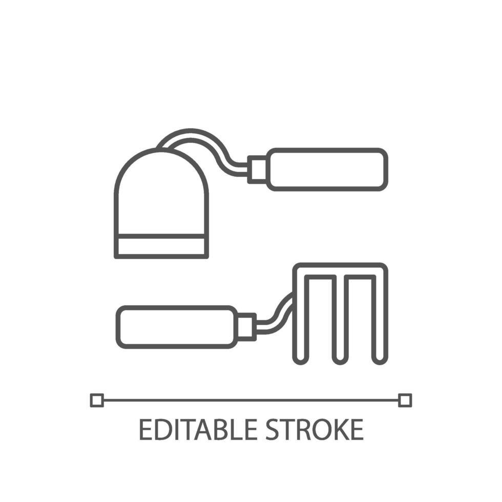hacka och gaffelhakor linjär ikon vektor