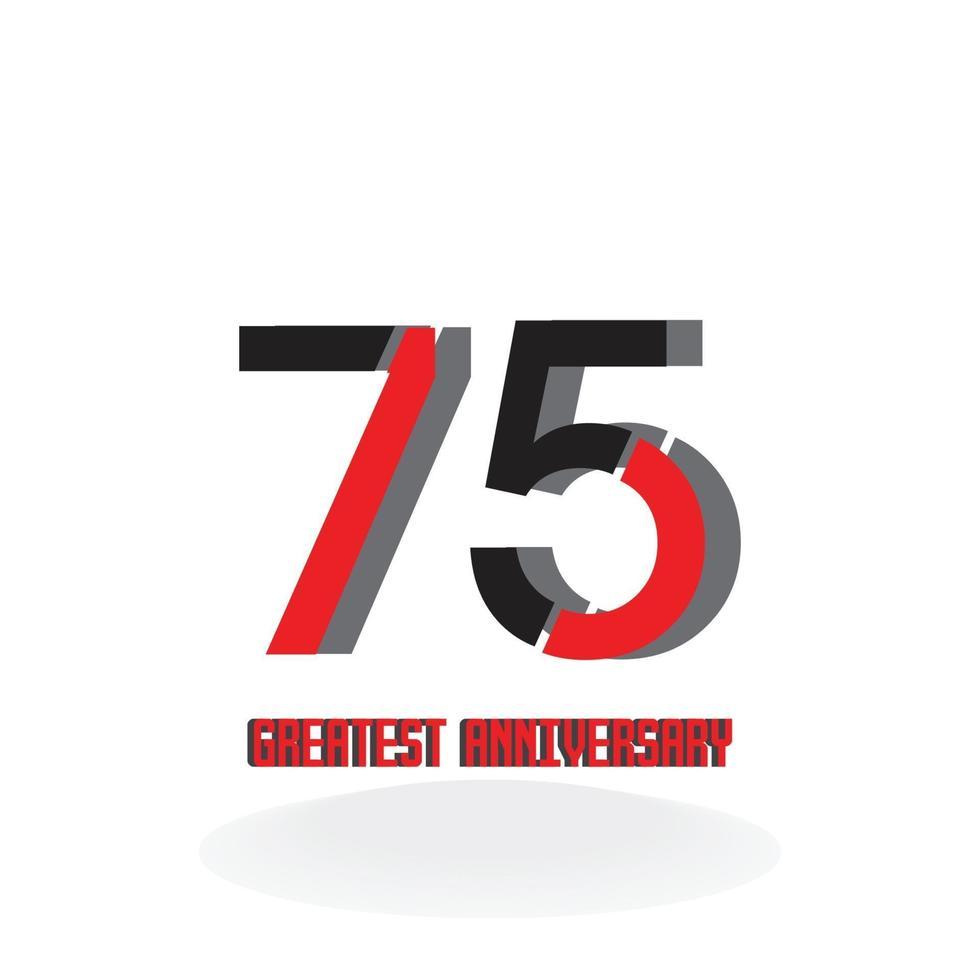 75 års illustration för design för mall för vektor för röd årsdagfirande