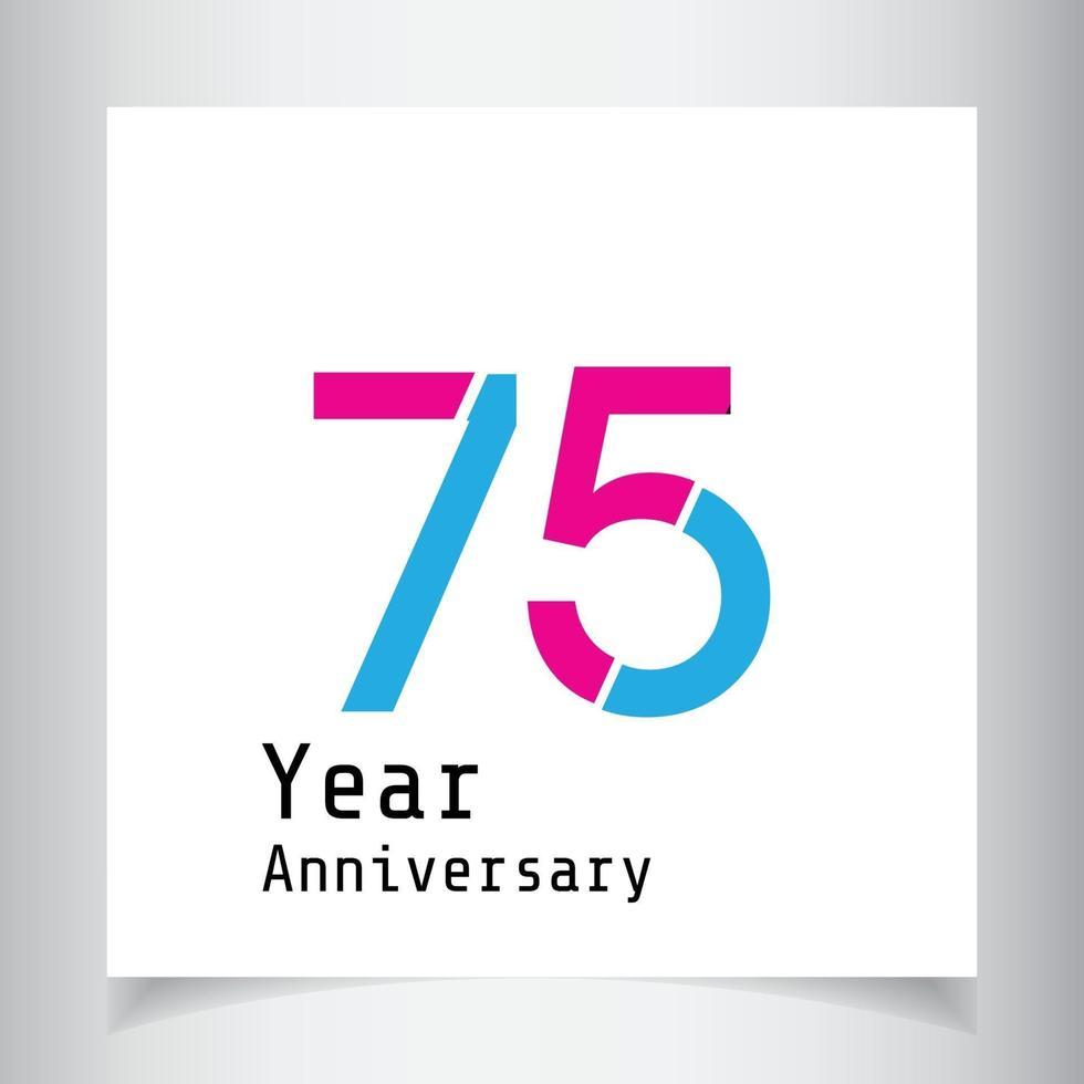 75-årsjubileumsillustration för design för mall för färgvektorvektor vektor