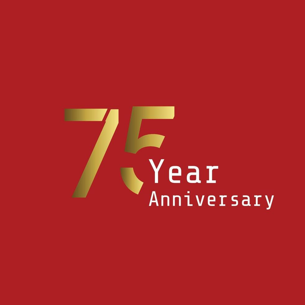 75 Jahre Jubiläumsfeier Goldrot Hintergrund Farbvektor Vorlage Design Illustration vektor