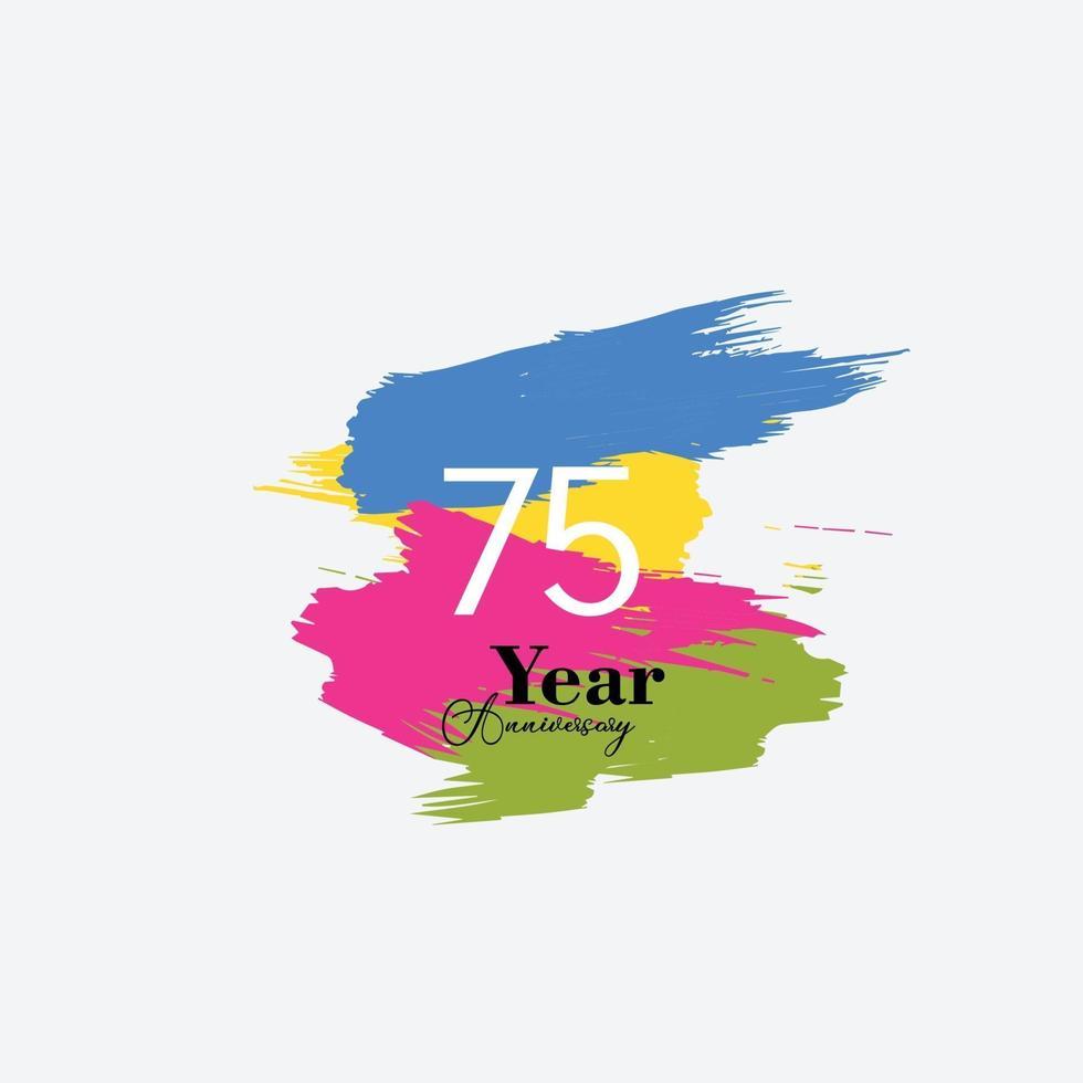 75-årsjubileumsillustration för design för mall för vektor för regnbågefärg