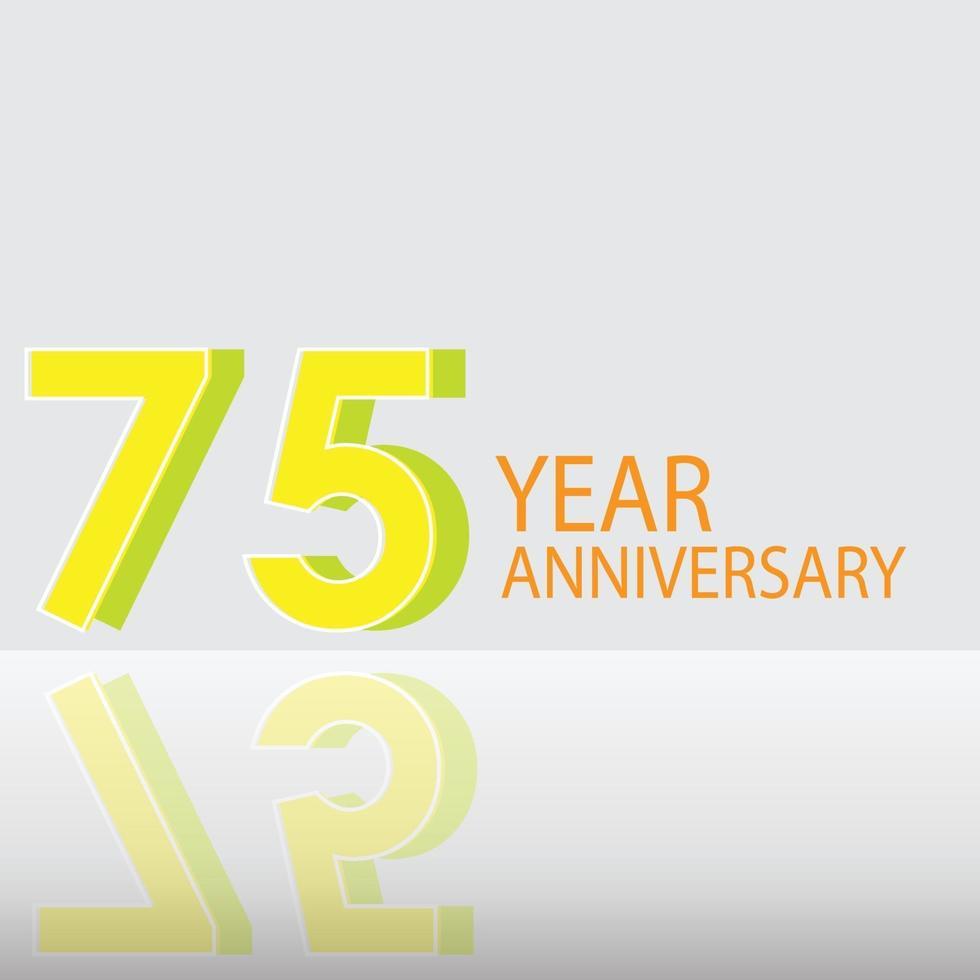 75 Jahre Jubiläumsfeier gelbe Farbvektorschablonen-Designillustration vektor
