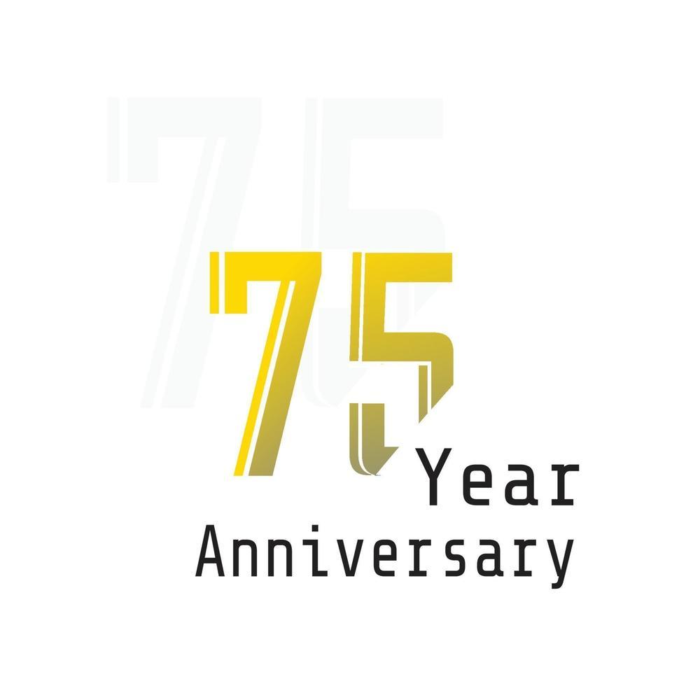 75 års illustration för design för mall för vektor för årsdagfirande gul färg