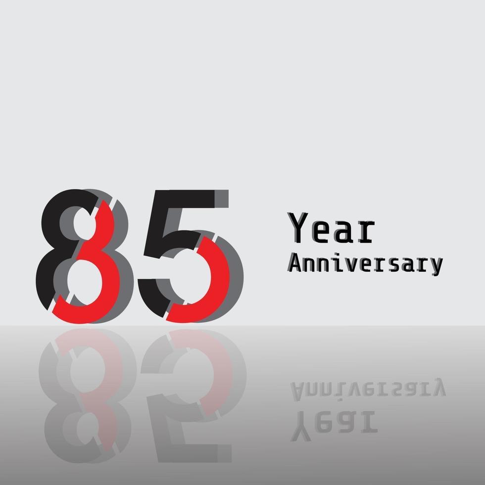 85 Jahre Jubiläumsfeier rote Farbvektorschablonen-Designillustration vektor